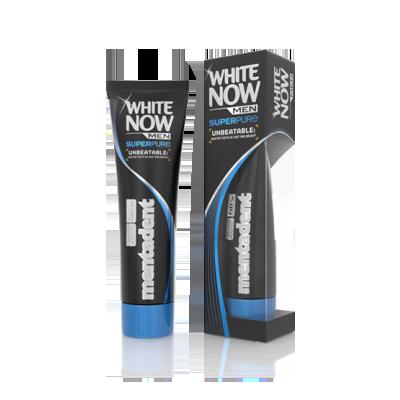 Dentifricio Mentadent White Now Men Super Pure prodotto per sbiancare i denti