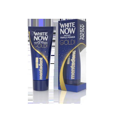migliore dentifricio sbiancante Mentadent White Now Gold