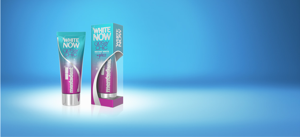Dentifricio Mentadent White Now Glossy Chic per denti bianchi