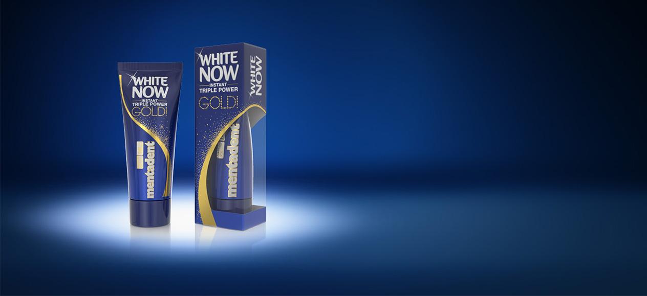 Dentifricio Mentadent White Now Gold per denti bianchiq